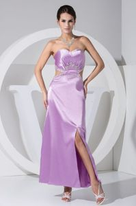 Ankle-length Sweetheart Light Purple Pageant Dress with High Slit and Cutout