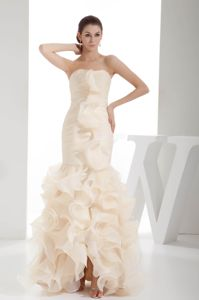 Latest Mermaid Ruched Champagne Interview Pageant Dresses with Ruffles