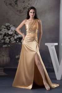 Champagne Beaded One Shoulder Court Train Miss Universe Pageant Dress