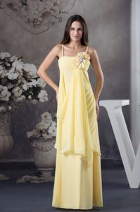 long Straps Chiffon Yellow Natural Beauty Pageants Dresses with Flowers