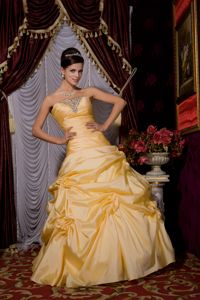 Gold Strapless Taffeta Beaded Miss Mississippi Pageant Dress with Pick Ups