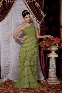 One Shoulder Olive Green Chiffon Beaded Prom Pageant Dresses with Ruffles