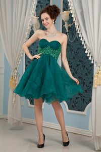 Appliqued Dark Green Sweetheart Mini-length Dresses For Pageants In Nj