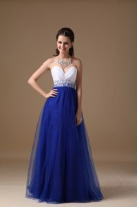 White and Royal Blue Beaded Sweetheart Interview Pageant Suits in Texas