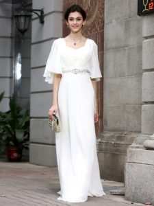 White Square Zipper Beading Pageant Dress for Womens Half Sleeves