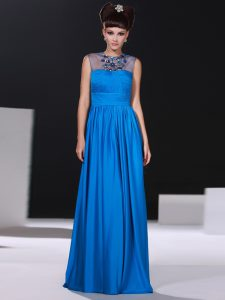 Sexy Scoop Floor Length Blue High School Pageant Dress Silk Like Satin Sleeveless Beading and Ruching