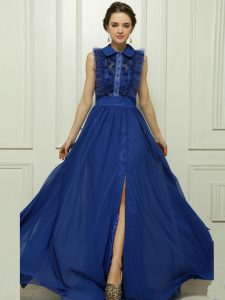 Blue Sleeveless Brush Train Appliques With Train Evening Gowns