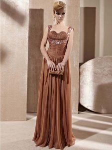 Best Sleeveless Chiffon Floor Length Zipper Pageant Dress in Brown with Beading