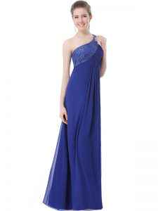 Great One Shoulder Floor Length Criss Cross Pageant Gowns Blue for Prom and Party with Beading
