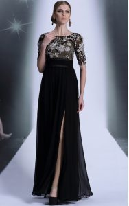 Scoop Black Half Sleeves Beading and Appliques Floor Length Pageant Dress for Teens