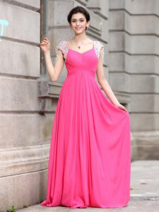 Excellent Hot Pink V-neck Neckline Beading Pageant Dress Womens Cap Sleeves Zipper