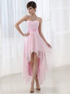 Eye-catching Baby Pink Sweetheart Neckline Beading Pageant Dress for Teens Sleeveless Lace Up
