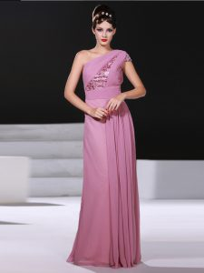 One Shoulder Sleeveless Chiffon Criss Cross Pageant Dress Toddler in Lilac with Ruching