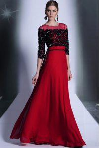 Red And Black Column/Sheath Chiffon Scoop 3 4 Length Sleeve Beading and Appliques Floor Length Clasp Handle Pageant Dress for Teens