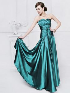 Super Elastic Woven Satin Strapless Sleeveless Lace Up Ruching Pageant Dress for Teens in Teal