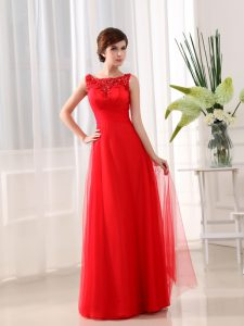 Artistic Scoop Sleeveless Floor Length Beading and Appliques Zipper Pageant Gowns with Coral Red