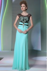 New Style Scoop Sleeveless Pageant Dress Floor Length Appliques Teal Chiffon