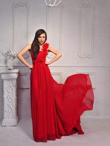 Dramatic One Shoulder Red Sleeveless Silk Like Satin Court Train Lace Up Pageant Dress for Prom and Party