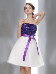 Charming White And Purple Sleeveless Chiffon Zipper Glitz Pageant Dress for Prom and Party