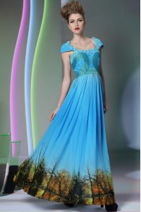 Dramatic Printed Baby Blue Sleeveless Floor Length Appliques and Pattern Zipper High School Pageant Dress