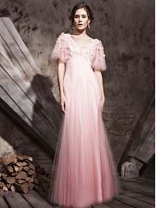 Clearance Baby Pink Chiffon Zipper V-neck Half Sleeves Floor Length Glitz Pageant Dress Lace and Appliques