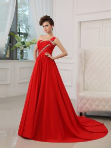 Classical Court Train Ball Gowns Pageant Dress for Womens Red One Shoulder Silk Like Satin Sleeveless Zipper