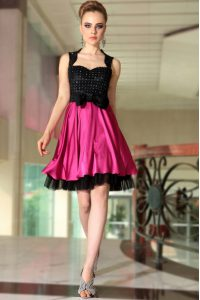 Knee Length Pink And Black Pageant Dress for Teens Satin Sleeveless Beading