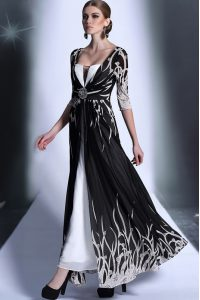 Fine Empire Pageant Gowns Black Square Chiffon Half Sleeves Ankle Length Zipper