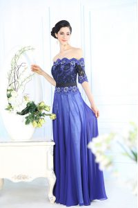 Dazzling Blue Chiffon Zipper Scalloped Half Sleeves Floor Length Pageant Dress for Girls Beading and Appliques
