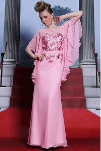 Flare Scoop Half Sleeves Pageant Dress for Girls Floor Length Beading Rose Pink Chiffon