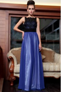 Wonderful Blue And Black Sleeveless Beading and Appliques Floor Length High School Pageant Dress