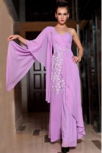 Low Price Chiffon Square Half Sleeves Side Zipper Beading and Ruching Custom Made Pageant Dress in Lilac