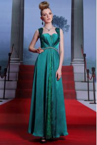 Smart Ankle Length Column/Sheath Sleeveless Peacock Green Pageant Dress Womens Zipper