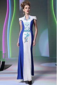 Stunning Floor Length Blue And White High School Pageant Dress V-neck Cap Sleeves Zipper