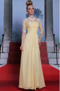 Stunning Spaghetti Straps Half Sleeves Pageant Dress Toddler Floor Length Lace and Ruching Light Yellow Chiffon