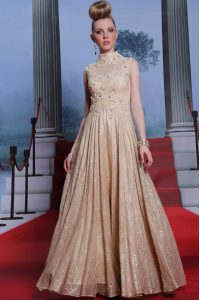 High-neck Sleeveless Winning Pageant Gowns Floor Length Beading and Sequins Peach Chiffon
