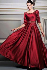 Red Zipper Bateau Beading and Belt Pageant Dress Toddler Satin Half Sleeves Brush Train
