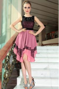 Best Selling Pink And Black Side Zipper Scoop Beading and Lace Pageant Dresses Chiffon Sleeveless