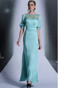 Colorful Half Sleeves Floor Length Sequins and Pleated Zipper Custom Made Pageant Dress with Aqua Blue