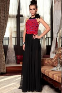 Perfect Scoop Sleeveless High School Pageant Dress Floor Length Ruching and Hand Made Flower Red And Black Chiffon