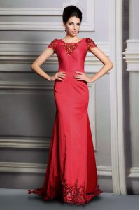 Scoop Red Empire Appliques Pageant Dress for Womens Clasp Handle Satin Short Sleeves