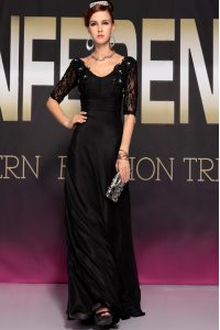 Black Chiffon Backless Scoop Half Sleeves Floor Length Custom Made Pageant Dress Lace and Ruching