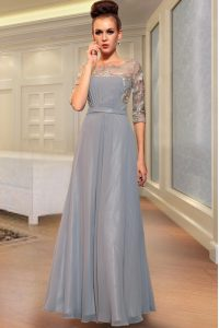 Lovely Grey Half Sleeves Ankle Length Beading and Embroidery Side Zipper Pageant Gowns
