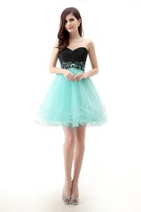 Modern Blue And Black Tulle Zipper Pageant Dress Wholesale Sleeveless Mini Length Lace