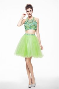 Designer Scoop Chiffon Sleeveless Knee Length Pageant Dress for Girls and Beading