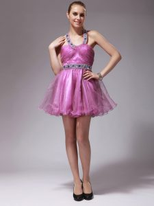 Hot Selling Rose Pink Column/Sheath Organza Halter Top Sleeveless Beading Mini Length Zipper Pageant Dress for Teens