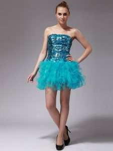 Aqua Blue Sleeveless Organza Zipper Pageant Dress for Girls for Prom and Party