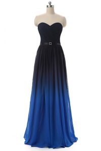 Beautiful Blue And Black Sweetheart Lace Up Ruching and Belt Pageant Dress Wholesale Sleeveless