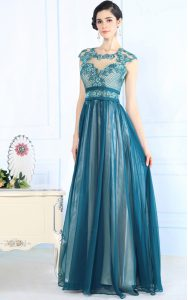 Chiffon Scoop Sleeveless Zipper Lace Pageant Dresses in Teal