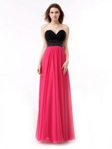 Affordable Sleeveless Chiffon Floor Length Lace Up Glitz Pageant Dress in Pink And Black with Beading and Ruffles